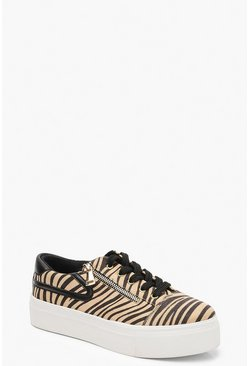 Womens Beige Zebra Zip Side Platform Sneakers