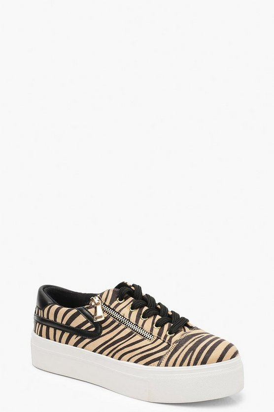 Womens Beige Zebra Zip Side Platform Trainers