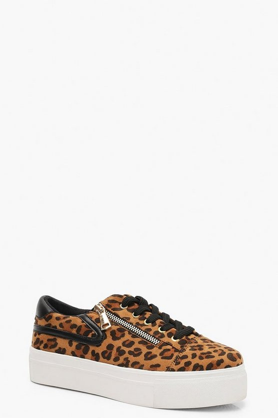 Womens Leopard Leopard Zip Side Platform Trainers