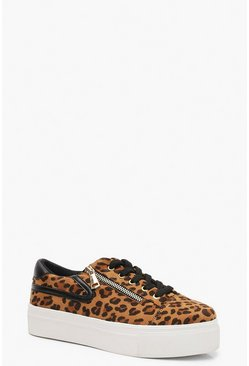 Womens Leopard Zip Side Platform Trainers