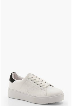 Black Platform Lace Up Trainers
