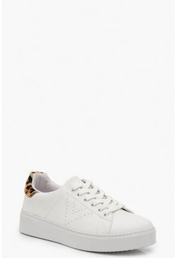Womens White Leopard Back Platform Trainers