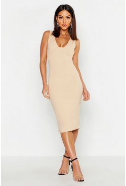 Womens Stone Plunge Bust Detail Midi Dress