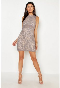 Womens Grey Woven Embroidery Lace Bodycon Dress