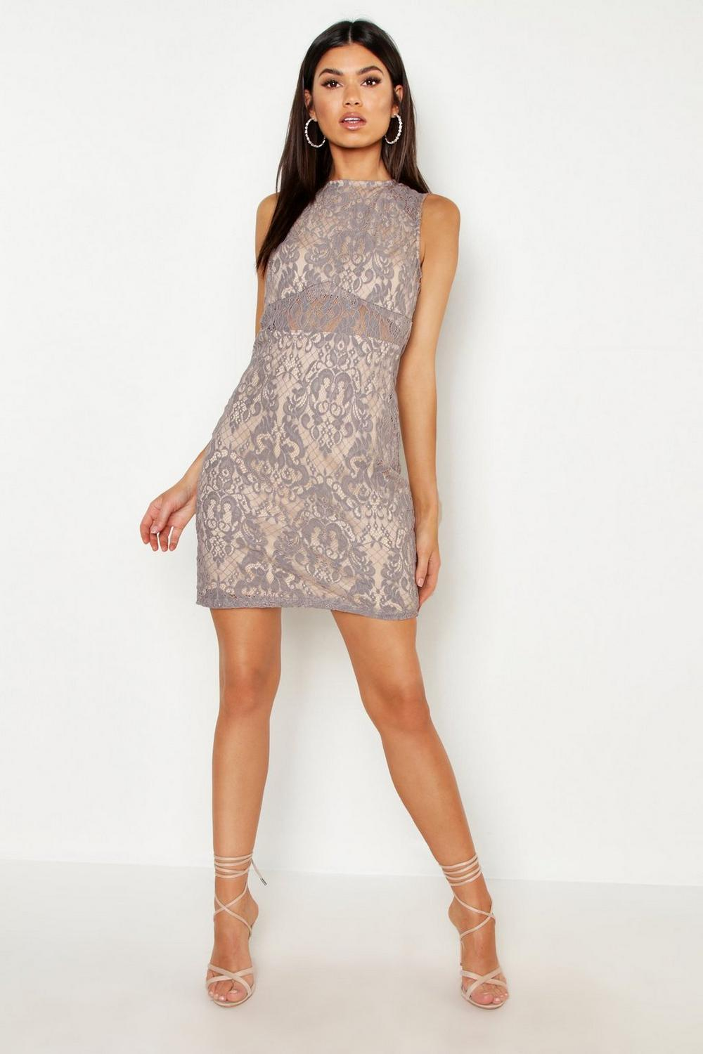 Woven Embroidery Lace Bodycon Dress Boohoo