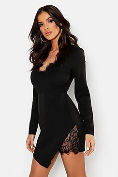 Lace Trim Woven Bodycon Dress