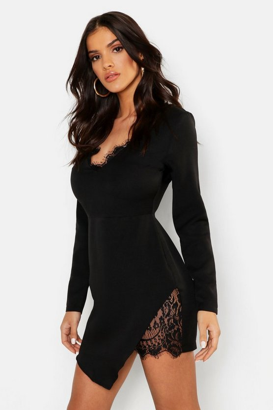 Womens Black Lace Trim Woven Bodycon Dress
