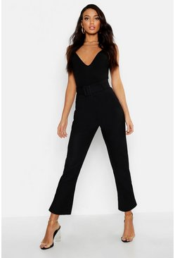 Womens Black Linen Mix Paperbag Belted Pants