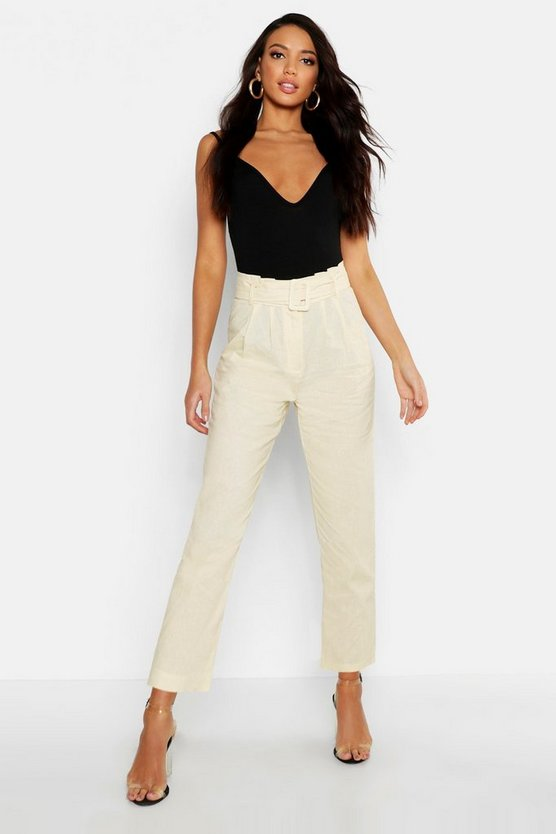Womens Ecru Linen Mix Paperbag Belted Pants