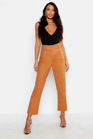 Womens Tobacco Linen Mix Paperbag Belted Trouser