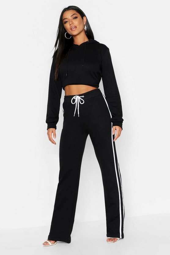 Womens Black Side Stripe Wide Leg Sweat Joggers