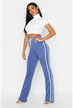 Womens Denim-blue Side Stripe Wide Leg Sweat Joggers