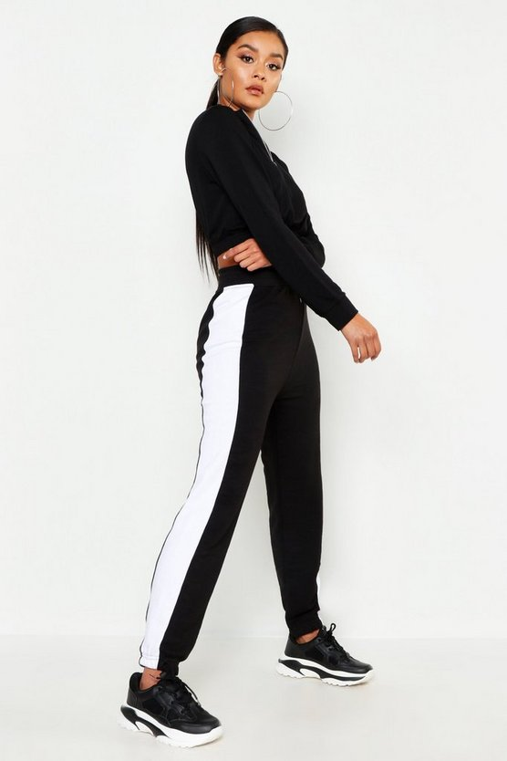 Black Contrast Panel Sweat Jogger