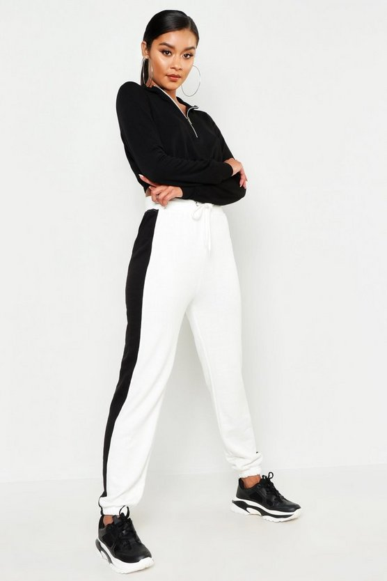 Womens Ivory Contrast Panel Sweat Jogger