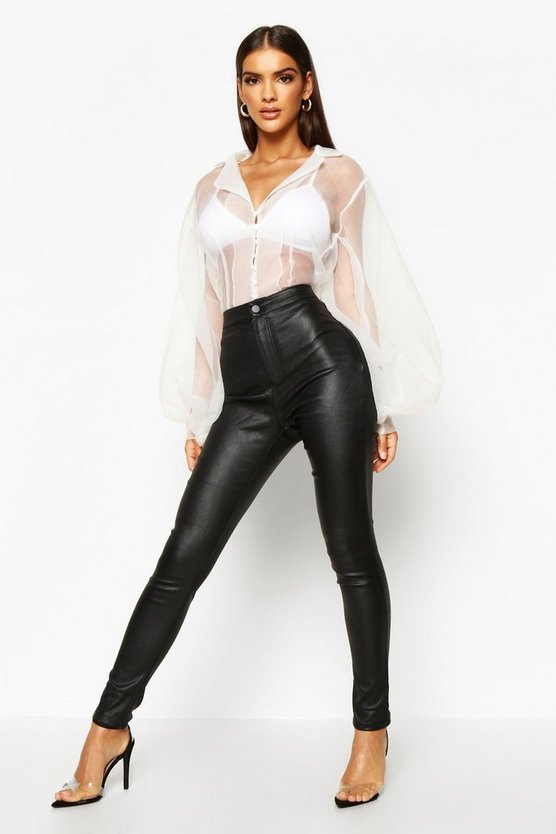 Womens Black Matte PU Coated Leather Look Skinny Trousers