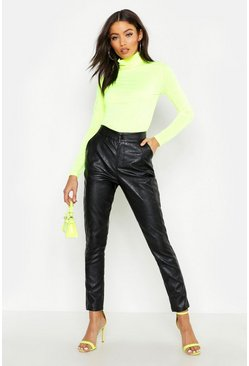 Womens Black Pu Leather Look Panel Pants
