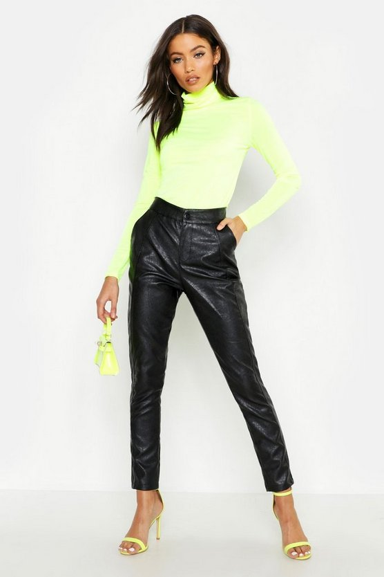 Womens Black PU Leather Look Panel Trouser