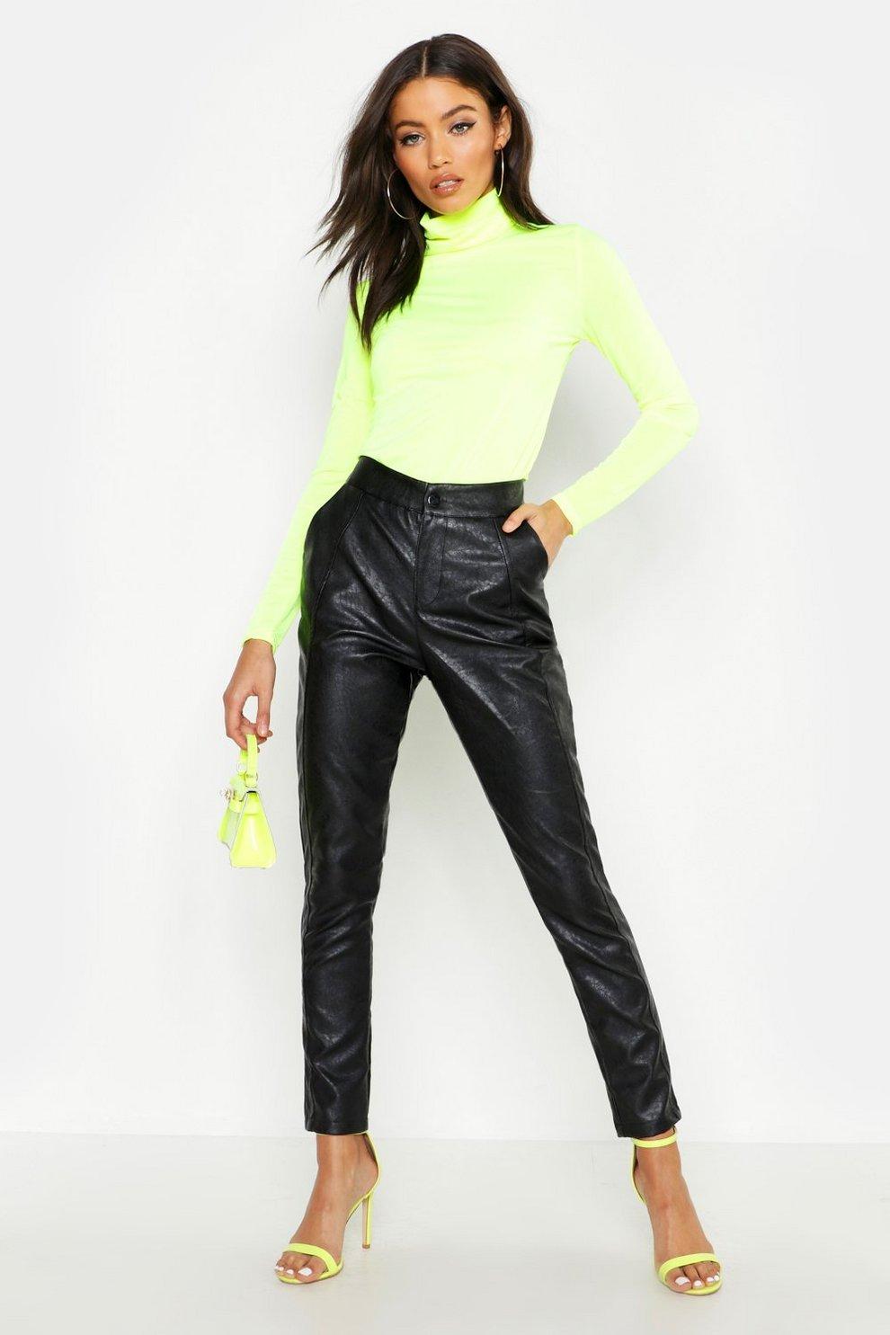 0951ac8b70e5 PU Leather Look Panel Trouser | Boohoo