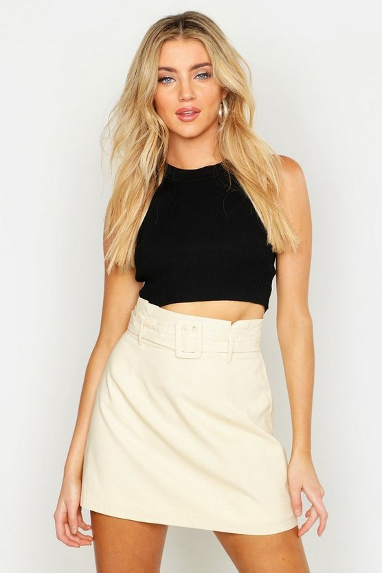 Womens Ecru Linen Mix Paper Bag Belted Mini Skirt