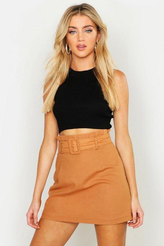 Linen Mix Paper Bag Belted Mini Skirt
