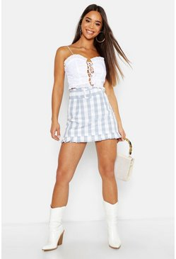 Womens Blue Gingham Check Belted Ruffle Hem Mini