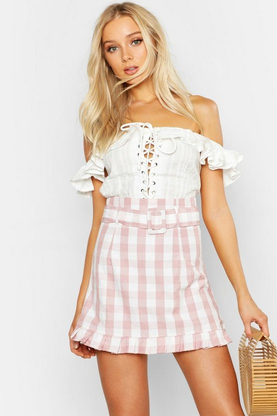 Gingham Belted Ruffle Hem Mini