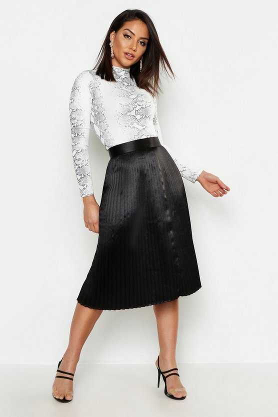 Womens Black Satin Pleated Midi Skirt