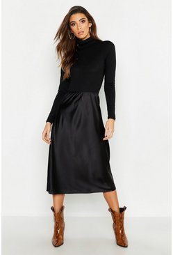 Womens Black Satin Bias Cut Slip Midi Skirt