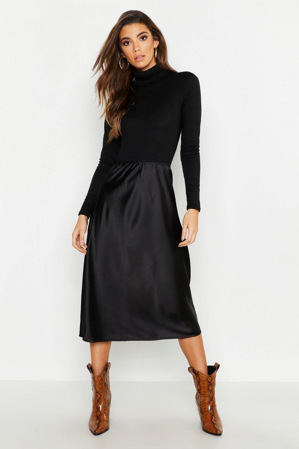 c318dee8fe Womens Black Satin Bias Cut Slip Midi Skirt