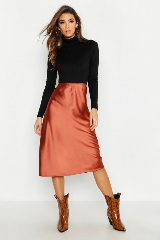 Chocolate Satin Bias Cut Slip Midi Skirt