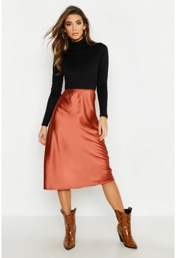 Womens Chocolate Satin Bias Cut Slip Midi Skirt