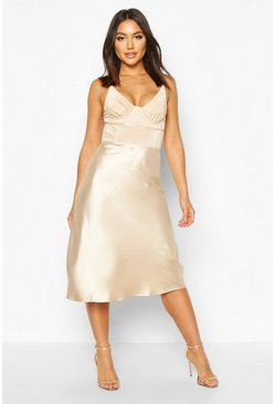 Womens Cream Satin Bias Cut Slip Midi Skirt