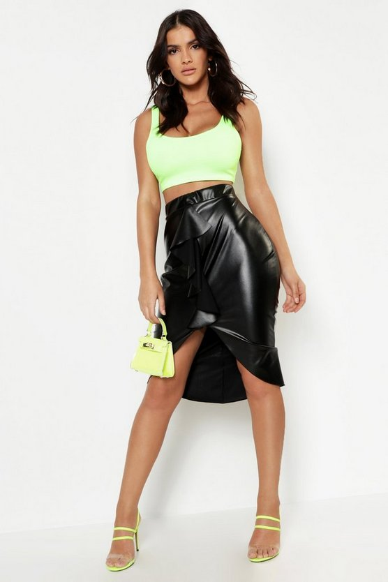 Womens Black Leather Ruffle Front Midi Skirt