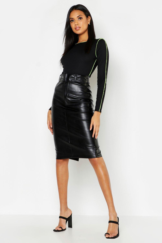 PU Belted Midi Skirt