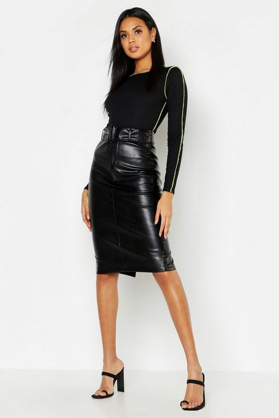 Womens Black PU Belted Midi Skirt