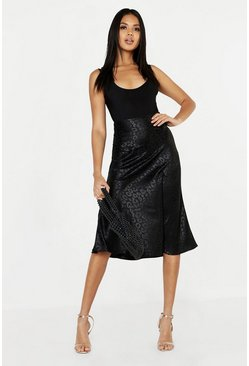Black Leopard Print Satin Bias Cut Slip Midi Skirt