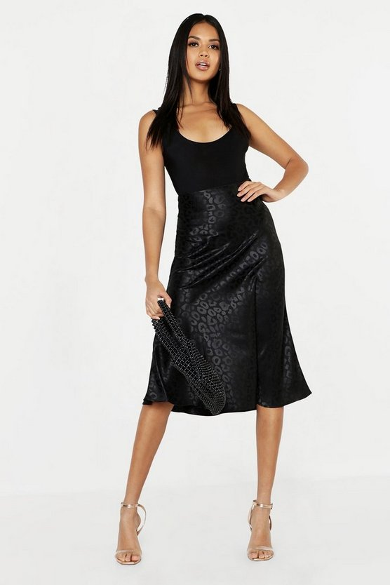 Womens Black Leopard Print Satin Bias Cut Slip Midi Skirt