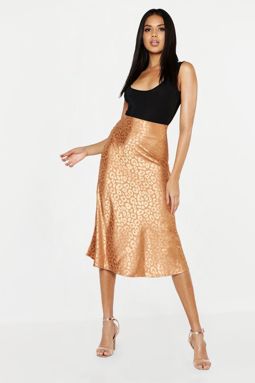 bd36244943 Leopard Print Satin Bias Cut Slip Midi Skirt. Womens Champagne Leopard  Print Satin Bias Cut Slip Midi Skirt