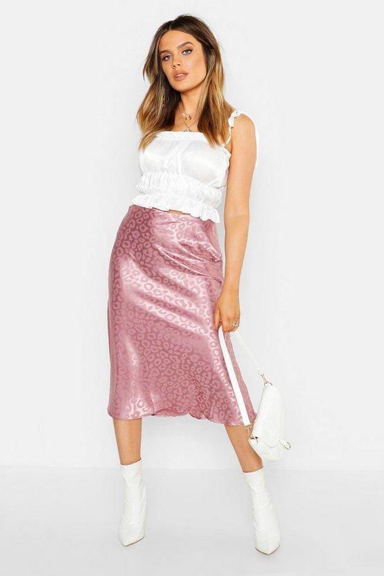 Leopard Print Satin Bias Cut Slip Midi Skirt
