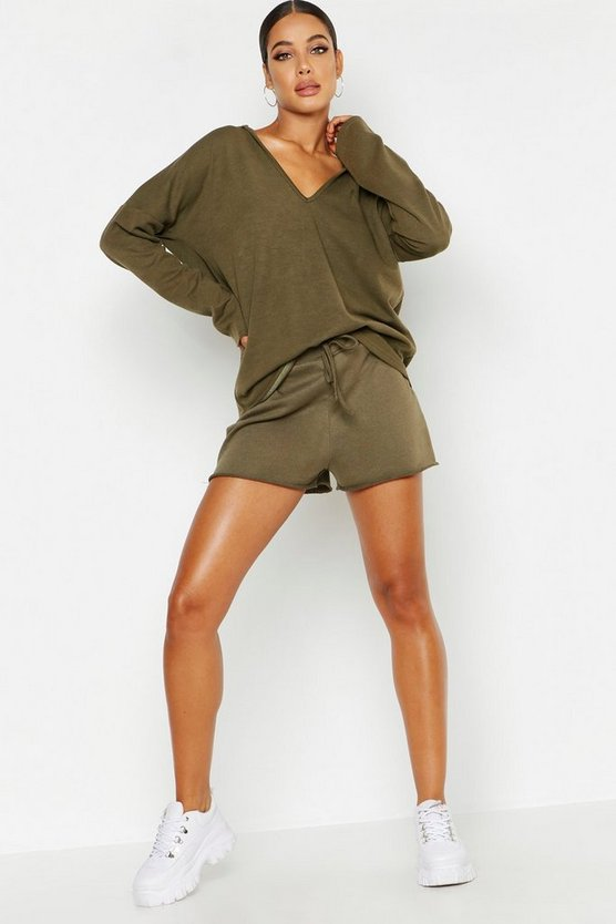 Womens Khaki Basic Raw Edge Sweat Shorts