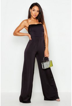 Womens Black Waffle Satin Square Neck Jumpsuit