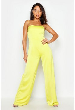 Neon-lime Waffle Satin Square Neck Jumpsuit