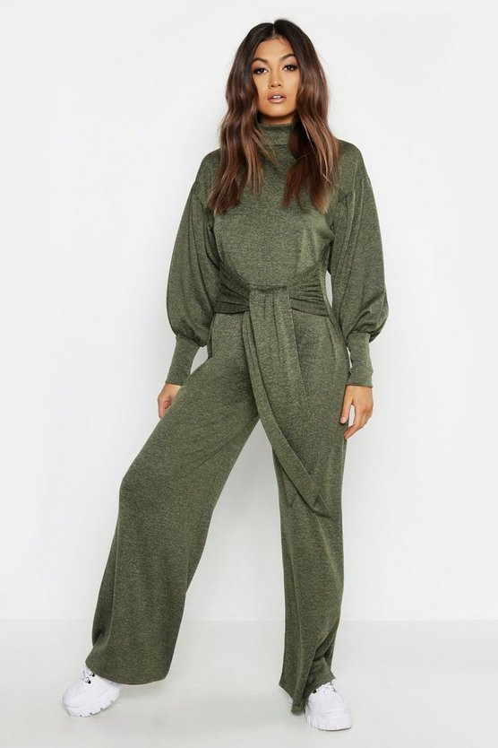 Womens Khaki Cut & Sew Batwing Roll Neck Jumpsuit