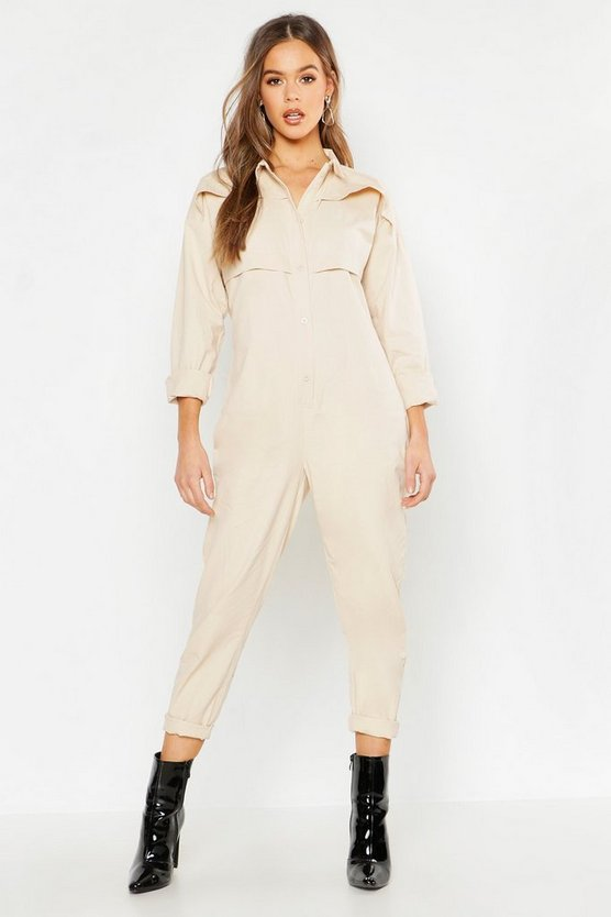 Womens Ecru Utility Boilersuit