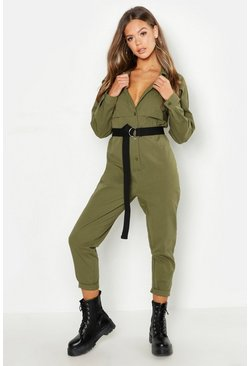 Womens Khaki Utility Boilersuit