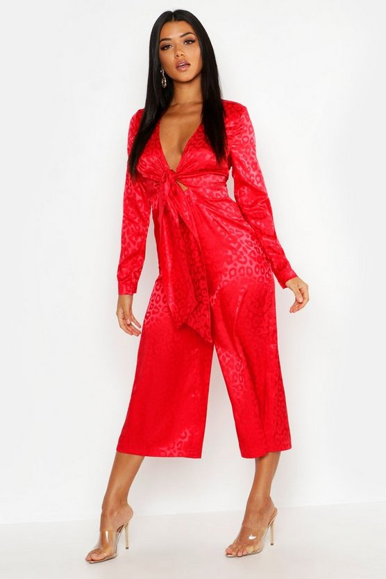Womens Red Leopard Satin Jacquard Knot Front Jumpsuit