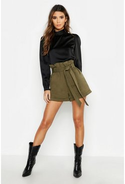 Womens Khaki Safari Roll Hem Belted Shorts