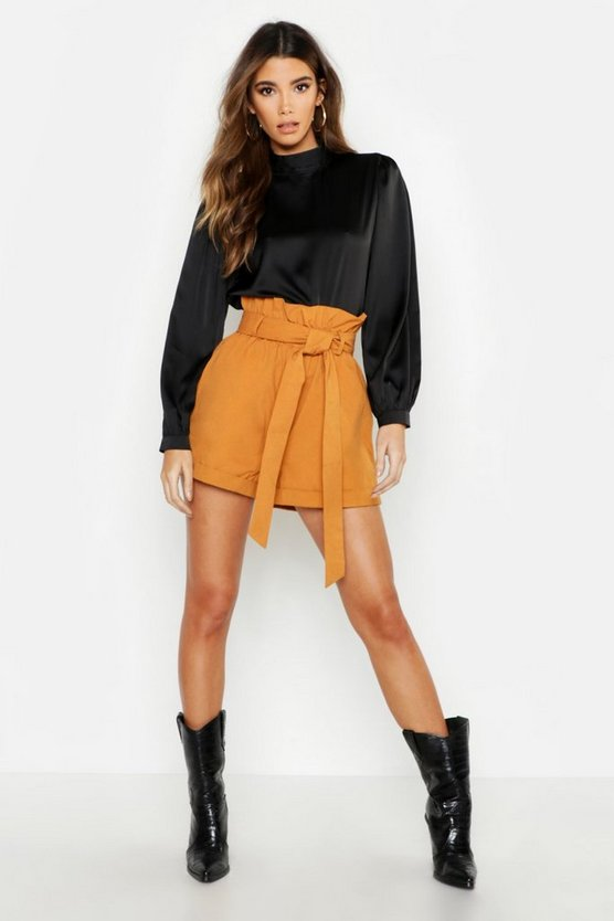 Womens Tobacco Paper Bag Roll Hem Belted Shorts