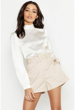 Womens Stone Belted Pocket Shorts