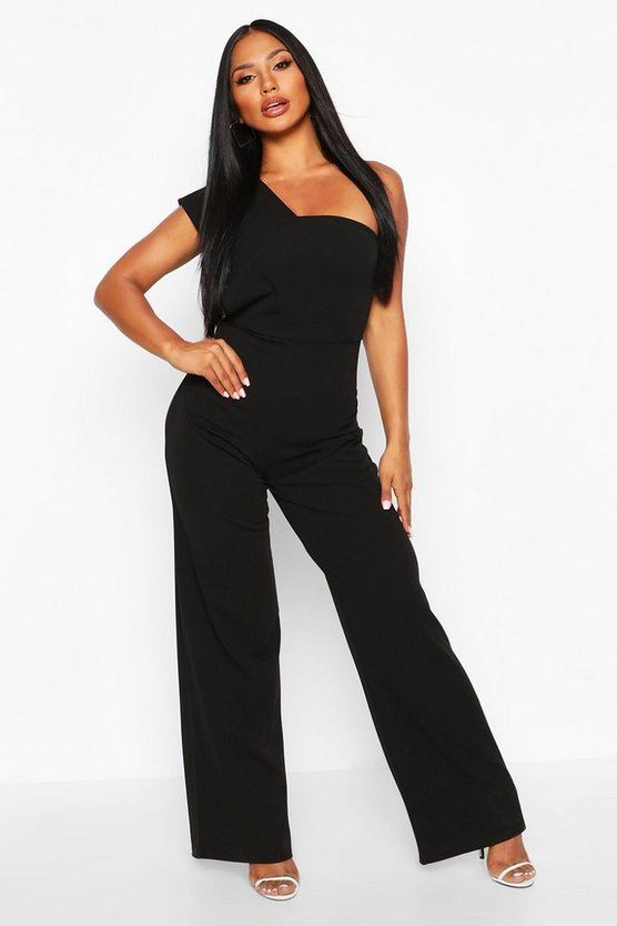Womens Black One Shoulder Drape Jumpsuit